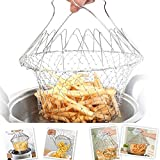 [Sponsored Products]Swarish Chef Basket Cooker Strainer Kitchen Tool Cooks Net - Flexible Kitchen Helper Kitchen Tool