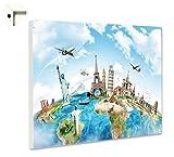 B-wie-Bilder.de Magnettafel Pinnwand mit Motiv Rund um die Welt Größe 60 x 40 cm
