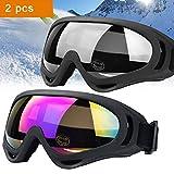 JTENG Maschera da sci per uomo, donna e bambino Occhiali da sci Snowboard Anti Nebbia Protezione Occhiali Protezione UV Goggles Occhiali anti-vento anti-Luce solare Anti-Sand per Moto Scooter
