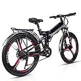 Wheel-hy Elettrica Pieghevole Bicicletta Mountain elettrica Bici Unisex, 350W 48V 10.4Ah, Shimano 21 velocità Freni a Disco