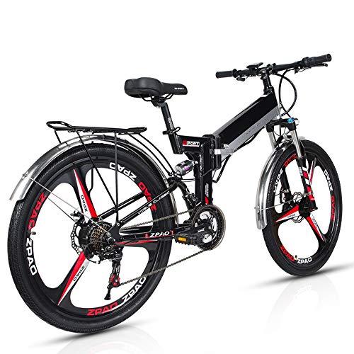 Wheel-hy Elektrofahrrad 26 Zoll e Bike Mountainbike, 35-50km/h Meilen Kilometerstand, 48V 10.4AH Abnehmbarer Akku and 21 Gang Getriebe