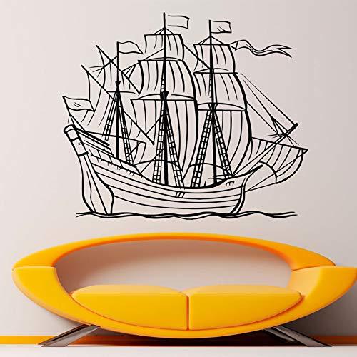 trichzeichnung Bilder Wandtattoo Große Shi Mit Segel Art Vinyl Aufkleber Nautische Grafik Wandbild Dekoration B-30 66x57 cm ()