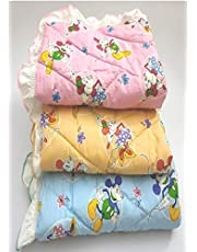 Dunims® Handicraft Baby Products - Baby Matress of Pure Cotton Lacy Sheets for New Born Babies (Colours Vary) (Set of 3)