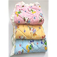 Dunims Handicraft Baby Products Baby Mattress Cotton Lacy Sheets for Newborn Babies (Colours May Vary) - Set of 3