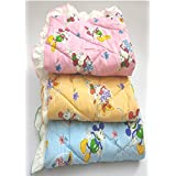 Dunims Handicraft Pure Cotton Lacy Sheets for Newborn Babies (Colour May Vary) - Set of 3
