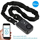 KKmoon Security Lock with Bluetooth; Cable Lock; 80cm Black Chain Smart Lock Anti