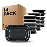 ''Flash Sale'' [14-PACK] 1 Compartment Meal Prep Containers with Airtight Lids. Microwave & Dishwasher Safe, Portable, Reusable, Stackable, BPA Free, Top Quality Portion Control Bento Lunch Box Food Containers. Comes with Free eBook (worth £11.99)