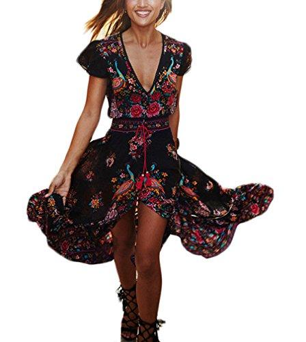 Mujer Vestidos Largos De Verano Vestidos Playa Elegantes Manga Corta V Cuello Casual Vintage Hippie Boho Flores Vestidos Verano Vestido Largo