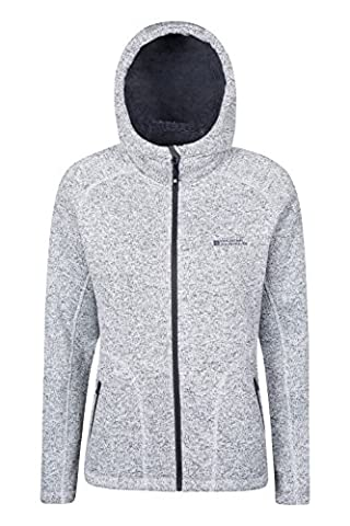 Mountain Warehouse Nevis Womens Fur Lined Hoodie - Soft, Warm & Insulating Fleece Lining with Adjustable Hood & Easy Care - Ideal Autumn Wear for Wrapping Light Grey