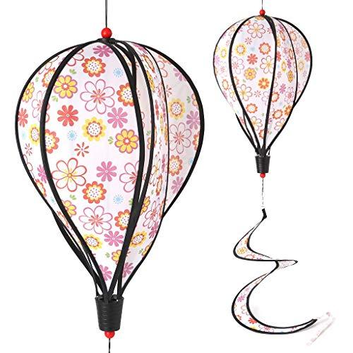 Vektenxi Blumenmuster-Ballon-Windmühlen-Kinderspielzeug, Glühen-gewundener Garten verziert buntes Freienwind-Spinner-langlebiges Gut und praktisch