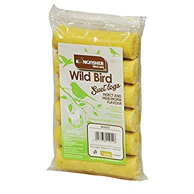 King Fisher Insect and Mealworm Suet Logs, Pack of 6 by King Fisher