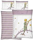 Baby-Kleinkind-Bettwäsche Der Kleine Prinz Mond + Sterne lila weiß 100 x 135 + 40 x 60cm 100% Baumwolle Linon Renforcé Bettzeug Bettwäsche Bett-Bezug Kissen-Bezug deutsche Größe Reißverschluss