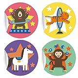 24 nette Kinder Aufkleber | Sticker mit Zirkus Motiven, MATTE Papieraufkleber für Einladungen, Geschenke, Etiketten für Tischdeko, Pakete, Briefe und mehr (ø 45mm; 6 x 4 Motive)