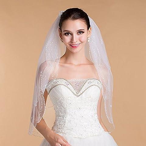 Joyería de la calidad doble de la boda - - alta Capa De Mano elegante - con cuentas de marfil blanco velo de novia