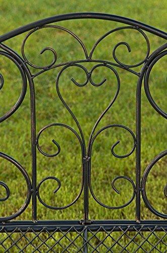 formschöne Gartenbank im Landhausstil aus Eisen / Metall Sitzbank mit Ornamenten bronzefarben 2-3er Parkbank Antikes Design - 5