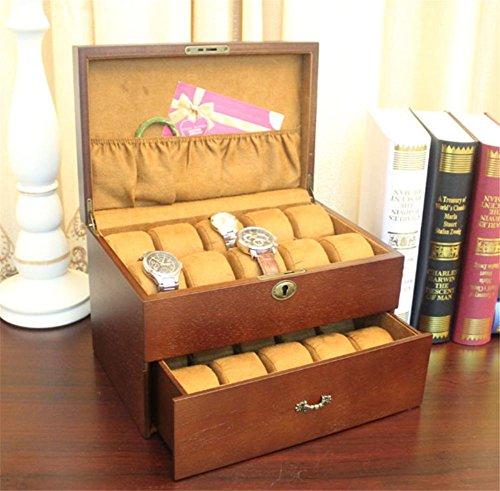 SHISHANG Vintage Holz Klarglas Top Watch Box Display Aufbewahrungskoffer Brust hält 20+ Uhren mit verstellbaren weichen Kissen und hohe Clearance für größere Uhren , a