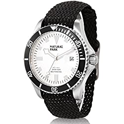Men Sport Watch with White Dial Luminous Hands Black Nylon Strap