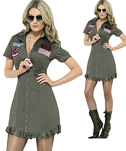 Ladies Top Gun 1980s Costume with Sunglasses. Plus Size