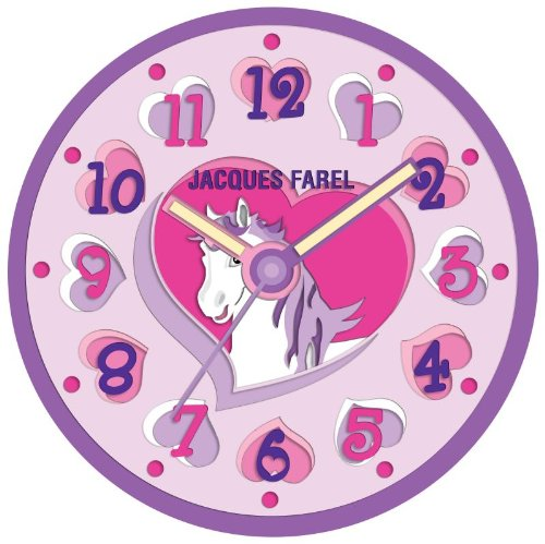 JACQUES FAREL WAL07 Kinderwanduhr Mädchen Wanduhr Einhorn Kunststoff Analog lila leise Sekunde