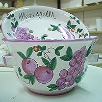 Portamozzarella composto da due pezzi in ceramica decorato a mano di dimensioni 35x22 circa …