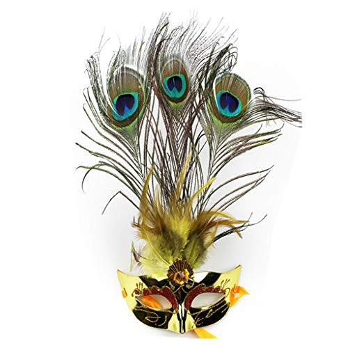 (Uus Halloween Pfau Feder Maske, Kostüm Party Party Laufsteg Maske Halbmaske (18 * 10 cm, 17 * 34 cm) (Farbe : G, größe : 17 * 34cm))