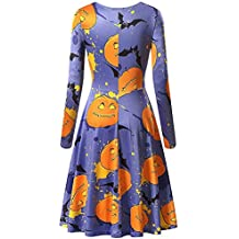 Yvelands Mujeres Halloween Scary Bat Pumpkin Spider Smock Swing Dress Vestidos de Fiesta de Manga Larga