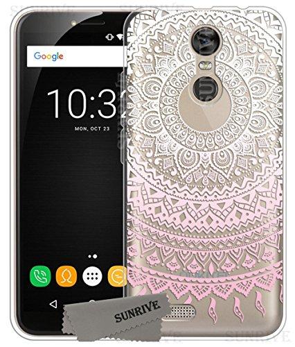 Sunrive Für OUKITEL C8 Hülle Silikon, Transparent Handyhülle Schutzhülle Etui Case Backcover für OUKITEL C8(TPU Blume rosa)+Gratis Universal Eingabestift