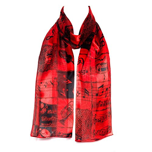 Ladies Stripe Musical Instruments/Notes Scarve/Scarf - (Red)