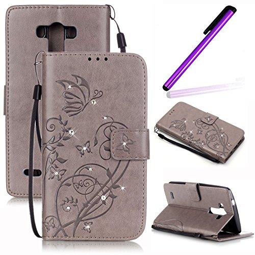 EMAXELERS LG G4 Case Blumen Glitzer Bling Cristall Schmetterling Muster PU Leder Handy SchutzHülle Hüllen mit Standfunktion Kunstleder für LG G4,Gray Butterfly with Diamond