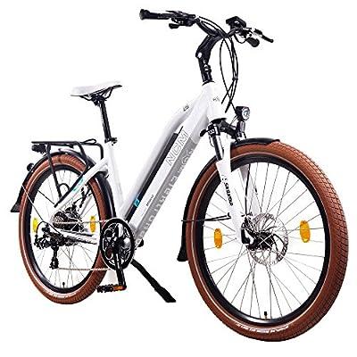 """NCM Milano, 26"""" Damen/Herren Trekking E-Bike,Pedelec 36V 13Ah SAMSUNG Zellen Akku, matt weiß,schwarz"""