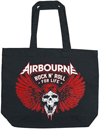 Airbourne Rock 'N Roll For Life Borsa di tela nero nero
