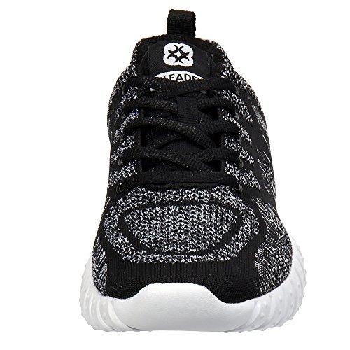 Sneaker Da Running Da Uomo In Mesh Leggero Con Lavorazione Sportiva / Nero / Grigio