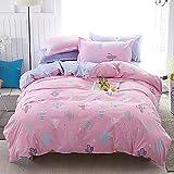 DOTBUY Bettbezug Set, 3 Stück Super Weiche und Angenehme Mikrofaser Einfache Bettwäsche Set Gemütlich Enthalten Bettbezug & Kissenbezug Betten Schlafzimmer (135x200cm, Kaktus rosa)