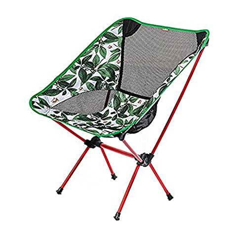 Ezyoutdoor Portable Folding Camping Chairs Aluminium Alloy Stool Fishing Hunting Camping Furniture Beach Chair with Carry Bag (Green
