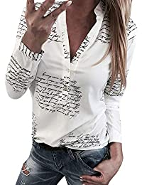 Longra Damen Blusen Langarm beiläufig Elegante Stretch T-Shirt Hemd Lose  Boyfriend Stil Langarmshirt Tops Oberteil… 7672573047