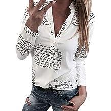 feiXIANG T-Shirt Femme Chemisier Couleur Unie Manches Longues Blouse Eté Femme  Chemise Chic Manche c483059395a