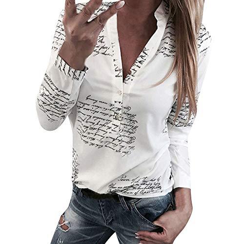 Donna Moda Camicetta,POLPqeD Primavera Estiva Lettere Stampa Tops V Neck Pulsante Maniche Lunghe T-Shirt Casuale Poliestere Sottile Camicie