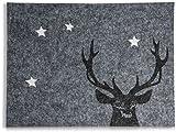 CHICCIE 2 Set Filz Platzset Hirsch und Sterne Grau 40 x 30 cm - Tischset Unterlage Platzdeckchen