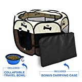 YOOBE Pets Portable Foldable Pet Playpen with Carrying Case & Collapsible Travel Bowl