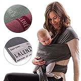 Babytragetuch | Babytrage | 100% Bio-Baumwolle | Tragetuch | Für Neugeborene Bis 15kg | Aus Europäischer Herstellung | Atmungsaktiv | Ohne Künstliches Elastan | Von Laleni (Grau)
