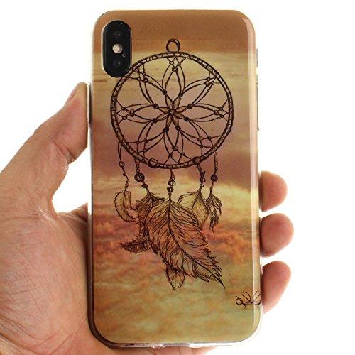 Cover Per iPhone X, Sunrive Case Custodia in molle Ultra Sottile morbido TPU silicone Morbida Flessibile Pelle Antigraffio protettiva(TPU ragazza sexy) TPU Dreamcatcher
