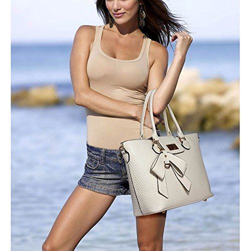 Leahward Damen Kunstleder Bow Charm Nice Great Handtaschen Tote Schultertaschen 374c 348 485 Rot Schultertasche