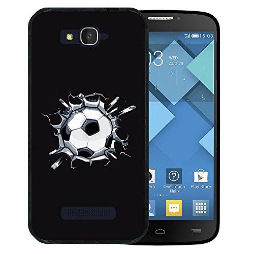WoowCase Alcatel One Touch Pop C7 Hülle, Handyhülle Silikon für [ Alcatel One Touch Pop C7 ] Fußball, der den Wand bricht Handytasche Handy Cover Case Schutzhülle Flexible TPU - Schwarz (One Touch C7 Pop)