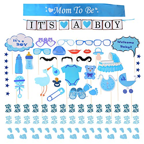 o Baby Shower Party Boy Taufe Dusche für Jungs Girlande It's a Boy Banner Bunting Deko Mum to Be Schärpe Blau Konfetti Babyparty Fotorequisiten Masken Photo Booth Props (Blau) ()