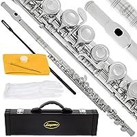 Lazarro profesional cerrado agujero c flauta para banda, orquesta, con funda, Care Kit, guantes y garantía
