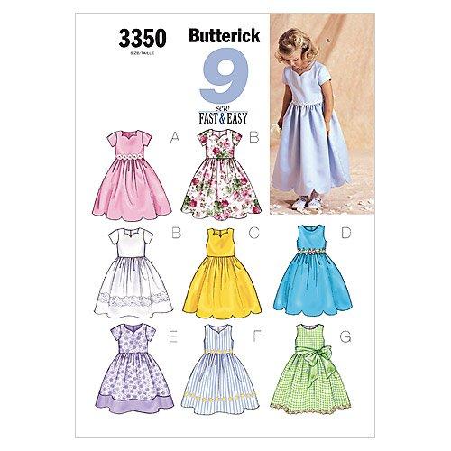 Butterick, Cartamodello per abito Bambina, 8 varianti (92-116 cm)