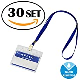 30 Packs Id Card Pass Badge Holder With Lanyard by Gimars,Waterproof Name Tags Strap, Transparent Work Employee Or Student Name Badge Holder - Horizontal Business Card Case - Office Supplie
