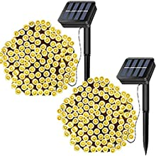 FANSIR Solar Garden String Lights, 2 Pack 72ft 200 LED Outdoor String Solar Powered Fairy Lights Waterproof 8 Modes Decorative Starry Lights for Indoor/Outdoor Patio Wedding Holiday Party (Warm White)