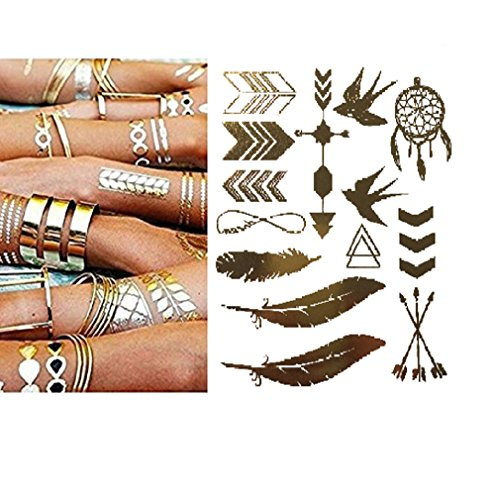 Miya® 1Stück Wild Style Metallic Tattoo, Flash Tattoos, temporär tattoo, Gold Schwarz Silber farbig Schmuck Tattoo für Körper Finger Arme, Halskette Armband Flash Tattoos Body Tattoo, Form01