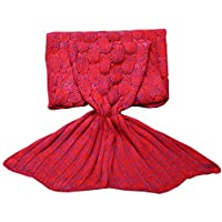 Triseaman Reina de la cola de la sirena Cobija Hecho punto con Escala de peces Sofá para dormir Manta de dormir Rojo Mujer